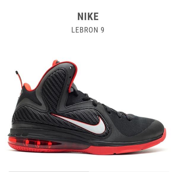 best sneakers 6b775 dafd0 Nike Lebron James Black/Red High Top Sneakers 9.5